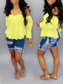 Blue Pockets Buttons High Waisted Ripped Destroyed Boyfriend Short Jeans