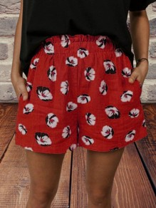 Red Floral Pocket Loose High Waisted Fashion Shorts