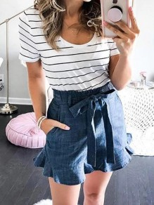 Blue Patchwork Ruffle Loose Elastic Waist High Waisted Fashion Jeans Shorts
