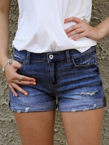 Dark Blue Pocket Ripped Destroyed High Waisted Fashion Shorts Jeans