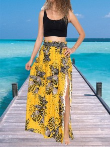 Yellow Floral Print Tassel Side Split Bohemian Long Skirt
