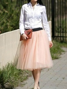 Pink Grenadine Tulle Tutu Elastic Waist Party Skirt