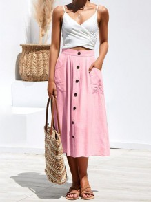 Pink Patchwork Pockets Buttons Fashion Skirt