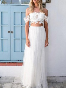 White Grenadine Elastic Waist Mid-rise Fluffy Puffy Tulle Long Bridesmaid Prom Maxi Skirt