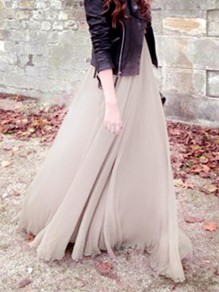 Light Coffee Draped Chiffon Big Swing Flowy High Waisted Elegant Skirt