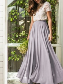 Grey Draped Chiffon Big Swing Flowy High Waisted Elegant Skirt