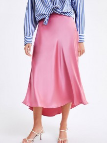 Pink Satin Solid Going out Flowy Casual Elegant Homecoming Party Long Skirt