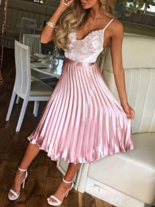 Pink Pleated Zipper High Waisted Ruched Flare Elegant Party Long Skirt