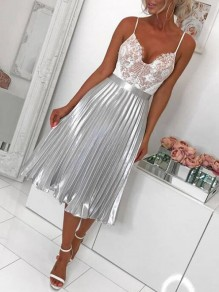 Silver Pleated Zipper High Waisted Ruched Flare Elegant Party Long Skirt