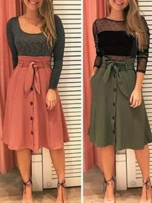 Army Green Buttons Pockets Sashes High Waisted Fashion Skirt