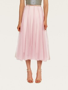 Pink Pleated Elastic Waist Grenadine Fluffy Puffy Tulle Elegant Homecoming Party Skirt