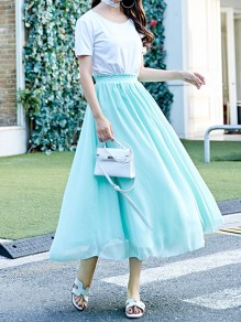 Sky Blue Pleated High Waisted Layers Of Grenadine Fluffy Puffy Tulle Elegant Skirt