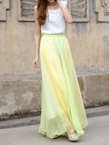 b5eb0a8f85 Yellow-Green Patchwork Pleated High Waisted Grenadine Ruffle Fluffy Puffy  Tulle Elegant Skirt