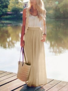 Apricot Pleated High Waisted Grenadine Ruffle Fluffy Puffy Tulle Beach Vacation Skirt