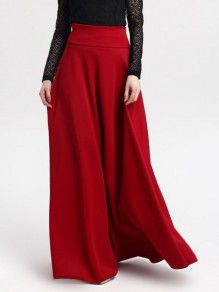 Red Draped Pastel High Waisted Elegant Going out Skirt