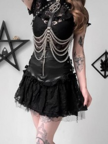 Black Patchwork Lace Pu Leather Zipper Gothic Alternative Goth Skater Tutu Short Skirt
