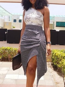 Black-White Plaid Pleated Irregular High-Low High Waisted Party Long Skirt