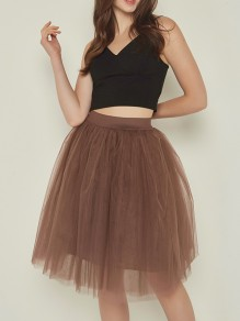 Coffee Layers Of Grenadine Fluffy Puffy Tulle Chiffon Homecoming Party Short Princess Skirt