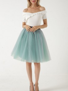 Green Layers Of Grenadine Fluffy Puffy Tulle Chiffon Homecoming Party Short Princess Skirt