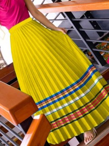 Yellow Striped Pleated High Waisted Party Long Skirt