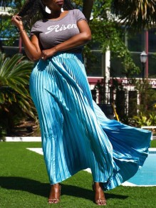 Sky Blue Pleated High Waisted Ruched Bronzing Flowy Bohemian Long Skirt