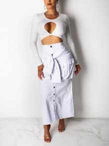 White Buttons Belt Pockets High Waisted Denim Party Long Skirt