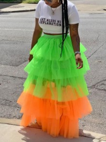 Green Patchwork Grenadine Cascading Ruffle High Waisted Homecoming Party Long Skirt
