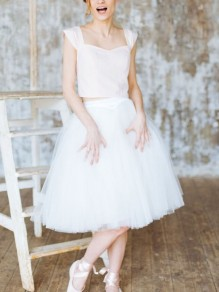 White Patchwork Grenadine High Waisted Fluffy Puffy Tulle Party Bridesmaid Prom Homecoming Party Midi Tutu Skirt