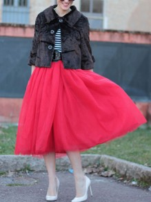Red Patchwork Grenadine High Waisted Fluffy Puffy Tulle Party Long Skirt