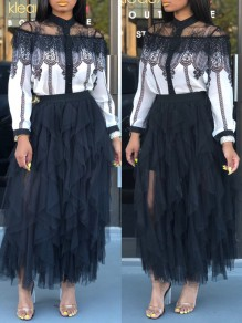 Black Patchwork Grenadine Cascading Ruffle Fluffy Puffy Tulle High Waisted Party Long Skirt