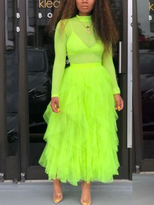 Green Patchwork Grenadine Cascading Ruffle Fluffy Puffy Tulle High Waisted Party Long Skirt
