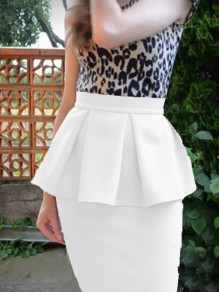 White Ruffle High Waisted Bodycon Elegant Party Skirt