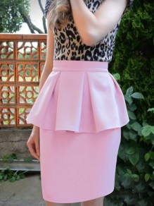 Pink Ruffle High Waisted Bodycon Elegant Party Skirt