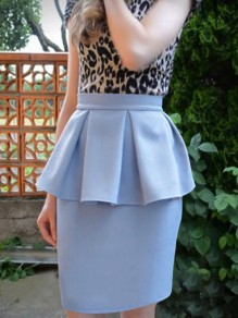 Light Blue Ruffle High Waisted Bodycon Elegant Party Skirt