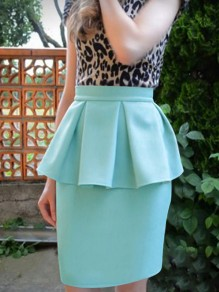 Light Green Ruffle High Waisted Bodycon Elegant Party Skirt
