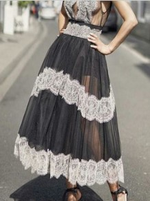 Black Patchwork Grenadine Lace High Waisted Fluffy Puffy Tulle Party Long Skirt