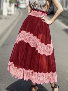 Burgundy Patchwork Grenadine Lace High Waisted Fluffy Puffy Tulle Party Long Skirt