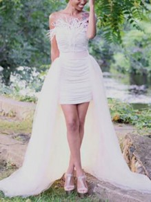 White Grenadine Slit High Waisted High-low Swallowtail Wedding Banquet Party Long Skirt