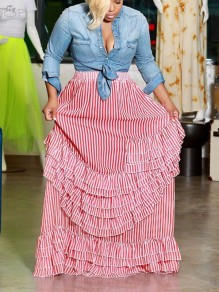 Pink Striped Cascading Ruffle Pleated Homecoming Party Long Skirt