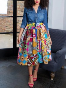 Green Tribal Floral Print Pleated Pockets High Waisted African Style Vintage Long Skirt