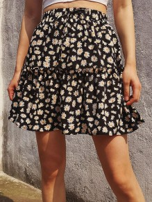 Black Small Daisy Ruffle Drawstring Cute Short Skirt