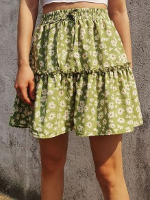 Green Small Daisy Ruffle Drawstring Cute Short Skirt