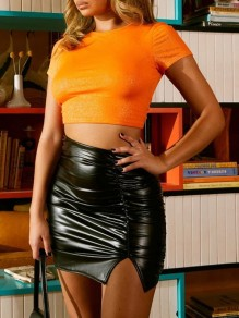 Black Pleated Side Slits Bodycon PU Leather Latex Patent Rubber Party Skirt