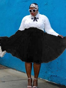 Black Patchwork Grenadine Pleated Fluffy Puffy Tull Plus Size Homecoming Party Skirt