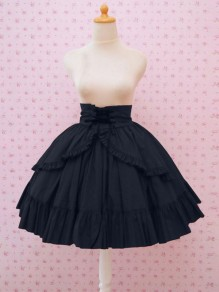 Dark Blue Patchwork Drawstring Ruffle High Waisted Court Skirt