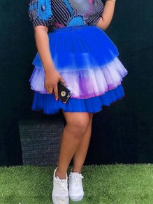 Blue White Patchwork Ruffle Grenadine Pleated High Waisted Party Tutu Skirt