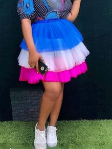 Blue Pink Patchwork Ruffle Grenadine Pleated High Waisted Party Tutu Skirt