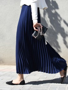Navy Blue Pleated High Waisted Elegant Maxi Skirt