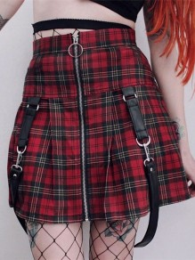 Red-Black Plaid Print Zipper High Waisted Cute Overall School Mini Skirt