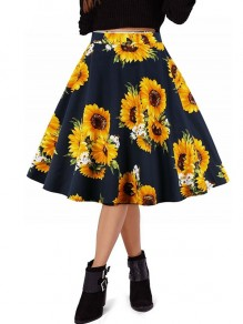 Black Sunflower Print Zipper Pleated High Waisted Tutu Cute School Midi Skirt